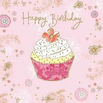BIRTHDAY CARD GLITTER CUPCAKE DESIGN LARGE SQUARE SIZE 625
